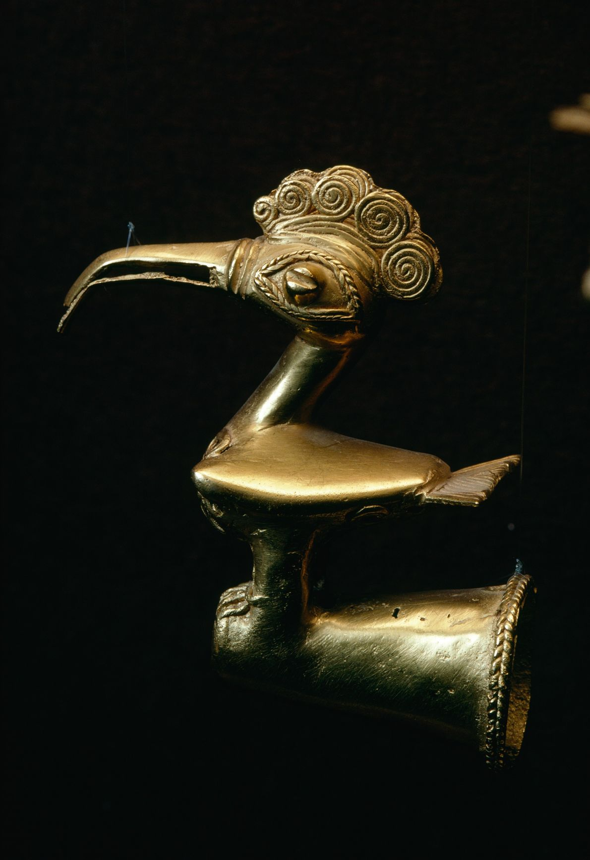This gold bird is probably from the pre-Columbian Sinu culture. It's likely a finial object, designed ...