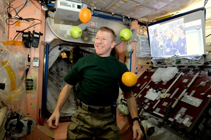 ESA astronaut Tim Peake is pleased to receive fresh fruit with the arrival of his new ...