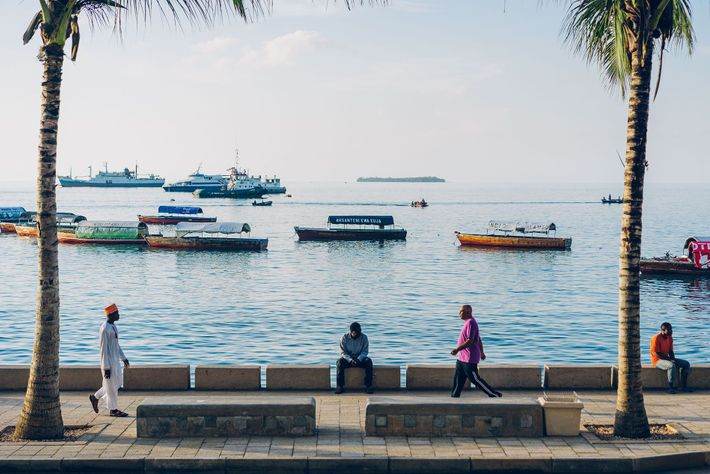 A late afternoon stroll along Stone Town's harbour front