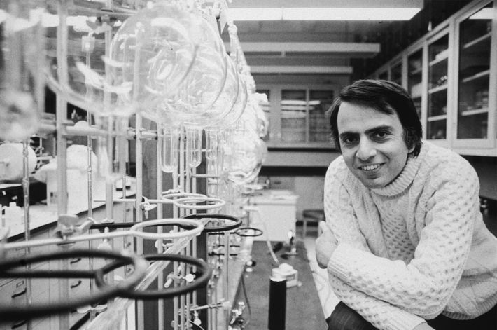 Sagan, here in 1974, was a professor of astronomy at Cornell University in Ithaca, New York, ...