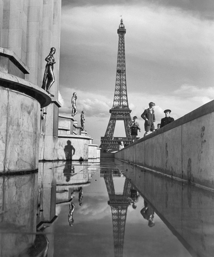 The Eiffel Tower, seen here in December 1946, was completed in 1889 for the Universal Exposition.