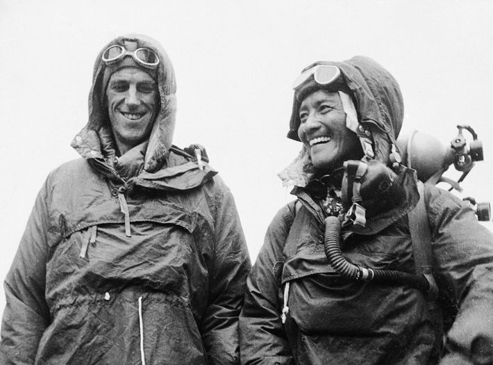 First to reach the top of the world, Edmund Hillary and Tenzing Norgay were all smiles ...