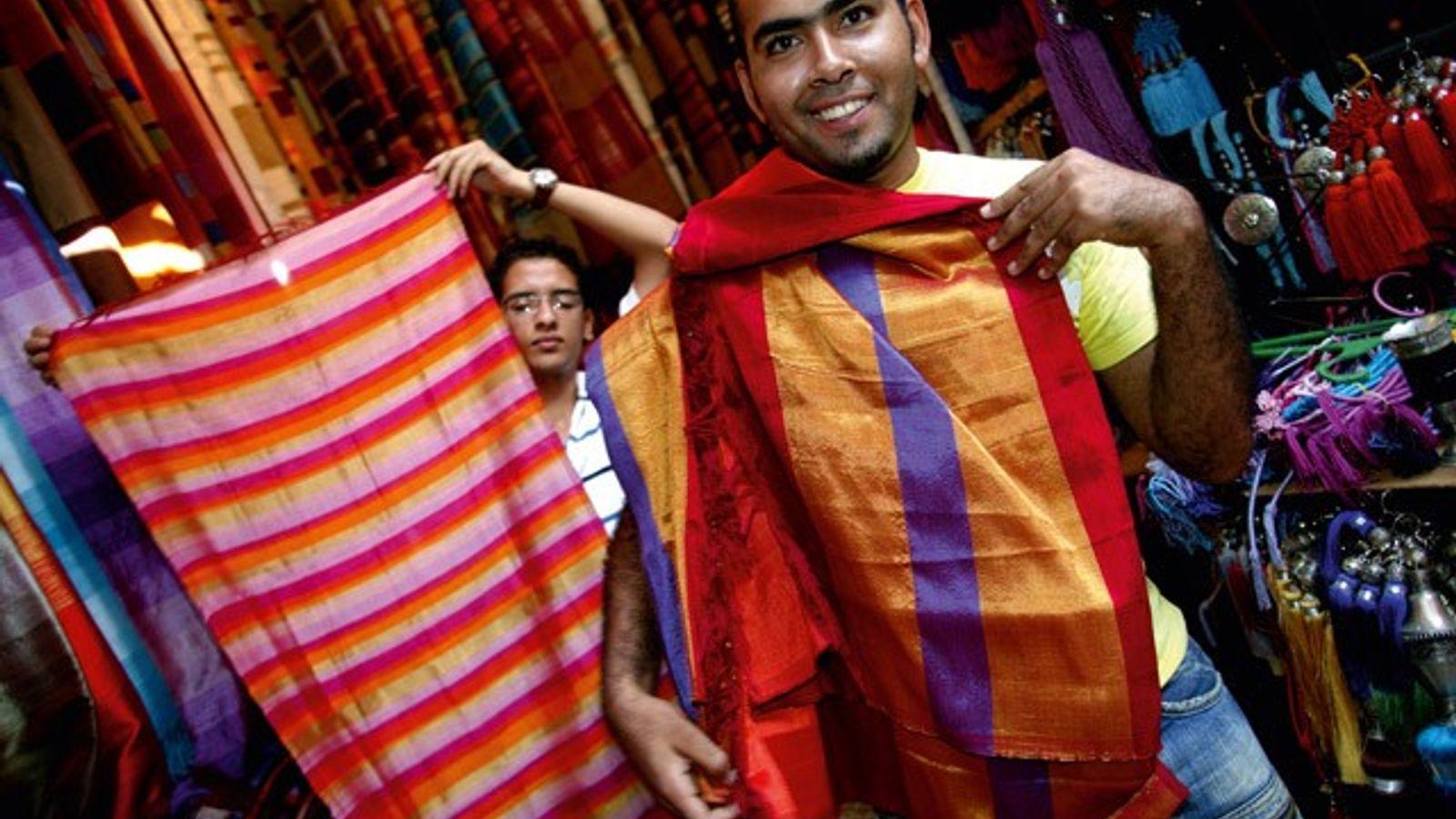 Silk textiles, Marrakech, Morocco