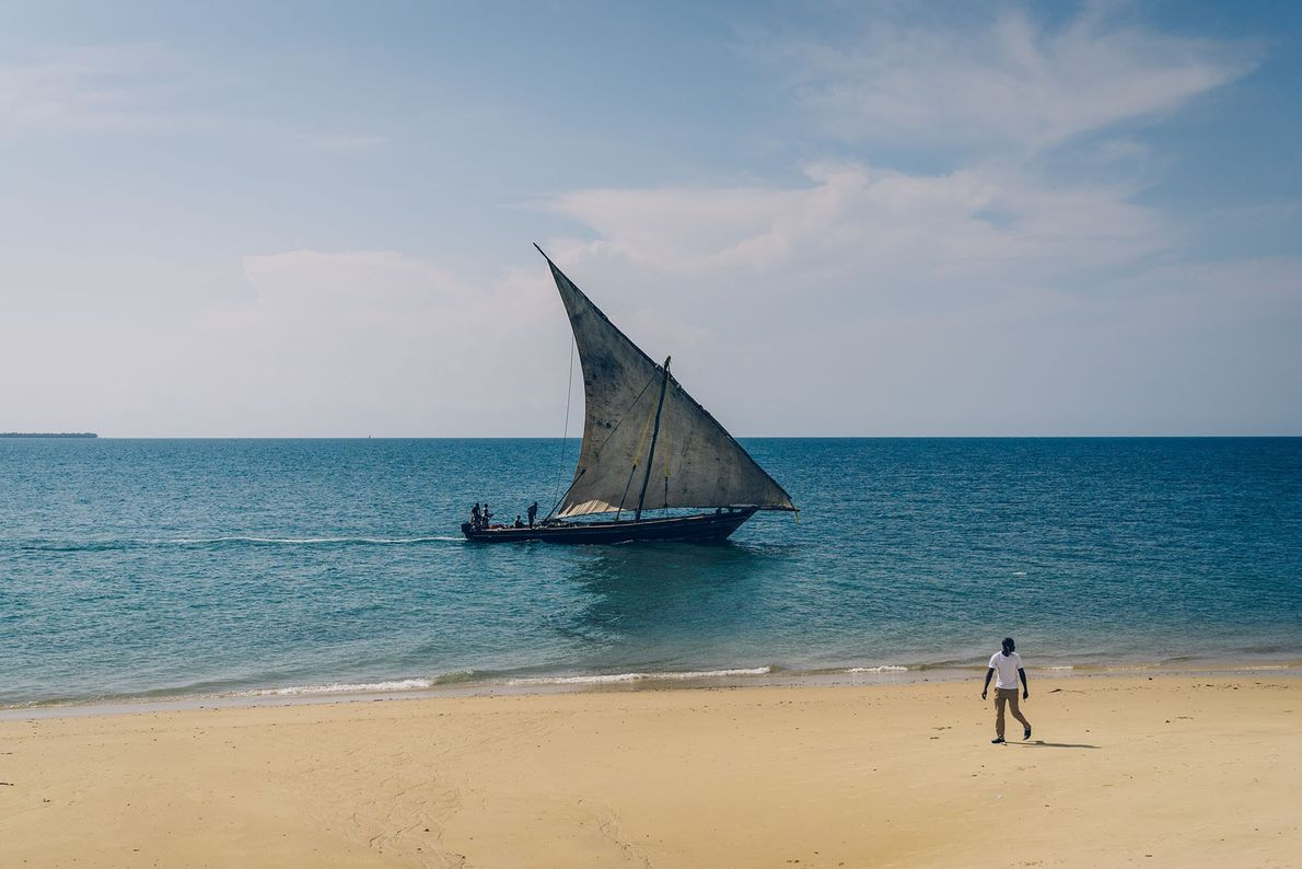 A fishing dhow returns to harbour after 12 hours out at sea.