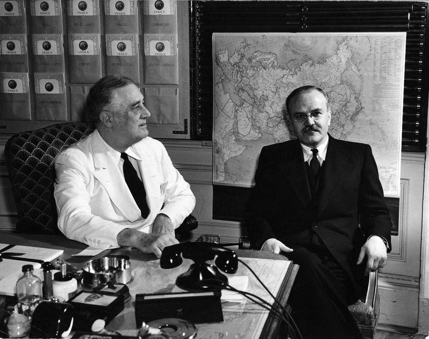 Grosvenor sent U.S. President Franklin Delano Roosevelt a map cabinet after the U.S. entered World War ...