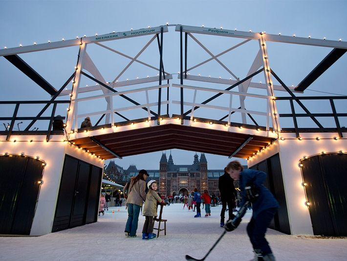 Amsterdam's wintry Museumplein squarePhotograph by Peter Dejong, AP Images