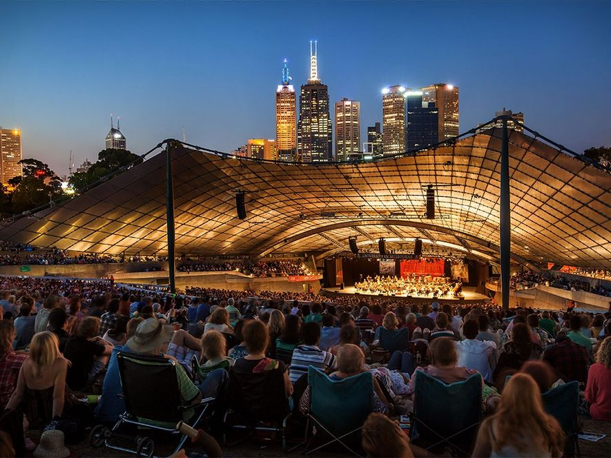 Sidney Myer Music Bowl lights up for a White Night Melbourne festival concert.Photograph by Robert Mora, ...
