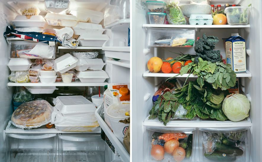 A refrigerator spilling over with carryout containers (left) makes it hard to keep track of food ...