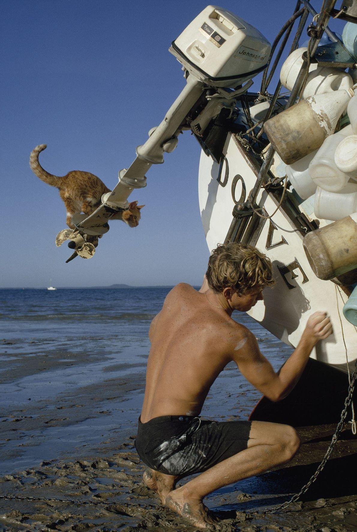 While teenage sailor Robin Lee Graham scrubs his boat on a beach near Darwin, Australia, his ...