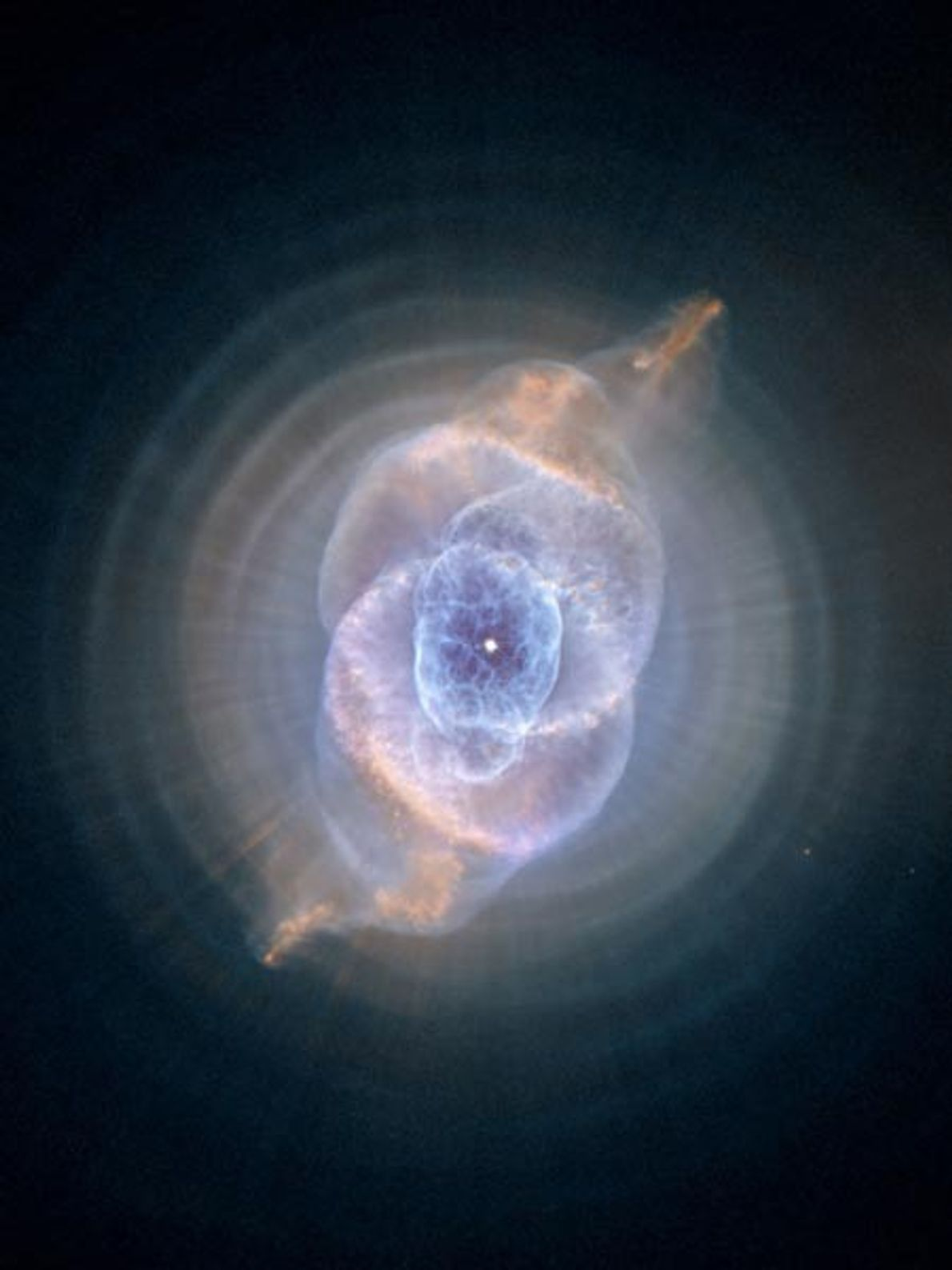 The intricately shaped Cat's Eye nebula is formed from concentric gas bubbles and high-speed jets ejected ...