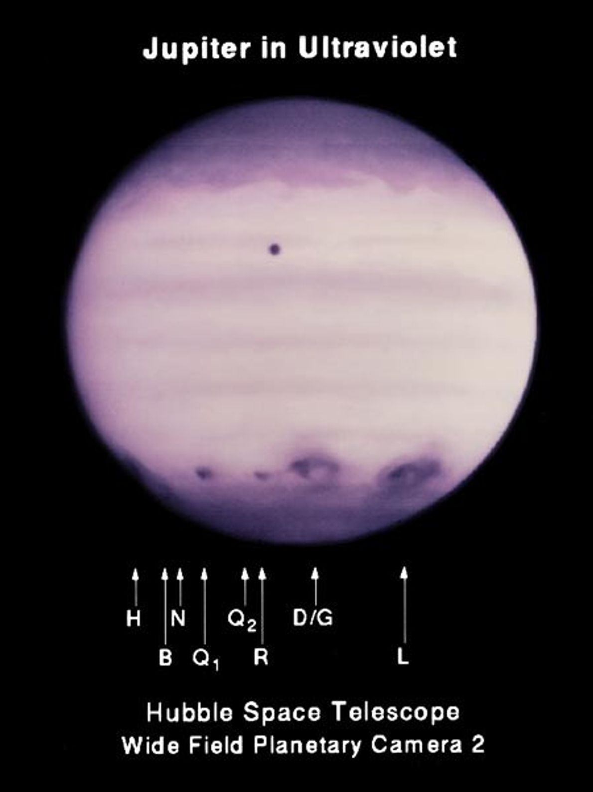 Fragments of comet P/Shoemaker-Levy 9 struck Jupiter in July 1994, leaving the impacts visible in this ...