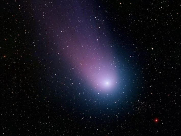 Comet C/2001 Q4, also known as NEAT, emits a blue-and-purple glow as it moves through the ...