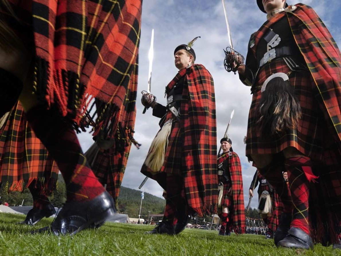 """The mission of the Lonach Highland Friendly Society includes preserving Highland dress and promoting """"peaceable and …"""