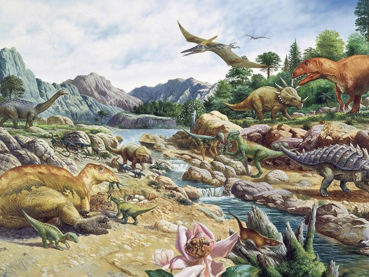 This rendering of Cretaceous life shows the diverse range of dinosaurs that lived between 145 and ...