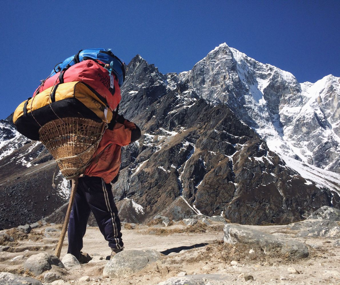 """""""The insane, triple stack, 90 kilograms of duffle bags headed up the long, ten-day trek to ..."""