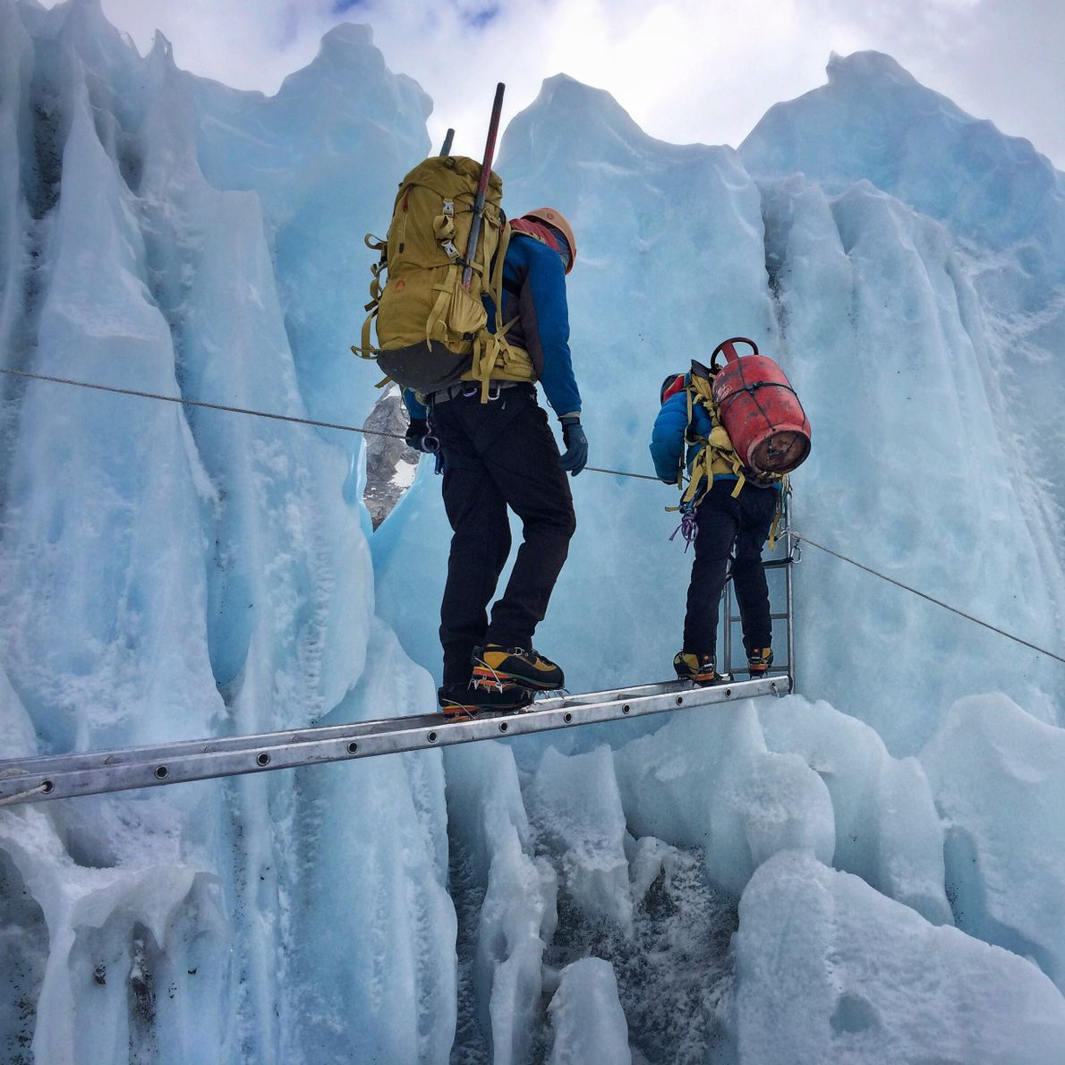 """""""Oxygen tanks, heavy loads, precarious steps. This is what it looks like for a lot of ..."""