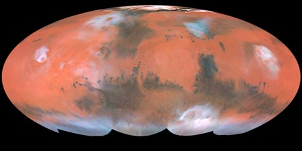 This full-color map of Mars was created with Hubble images captured when the planet was at ...