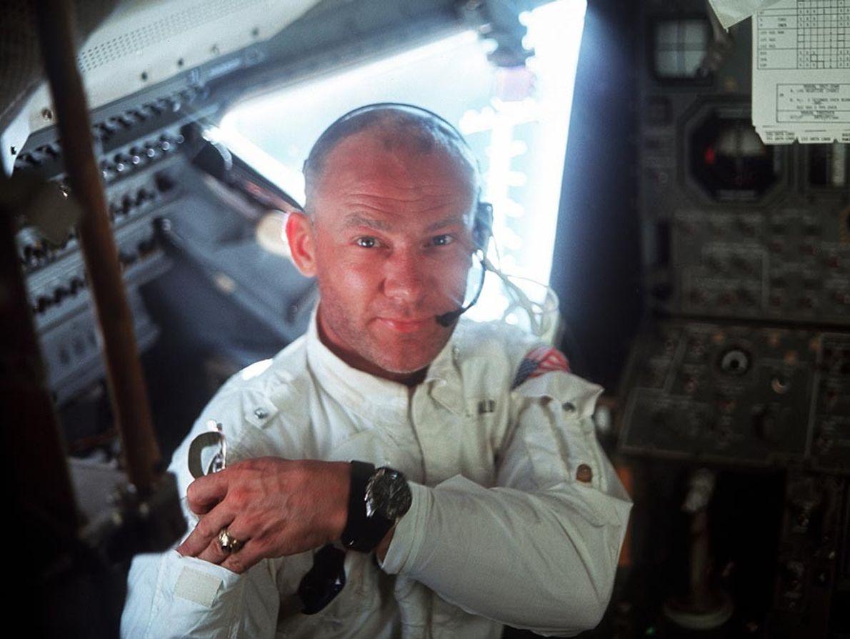 Apollo 11 Lunar Module Pilot Edwin E. 'Buzz' Aldrin poses for a portrait in July 1969. ...