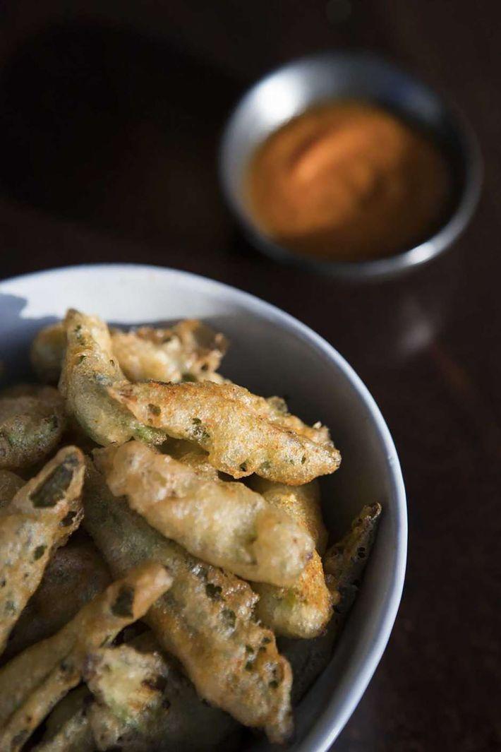 Okra tempura bites