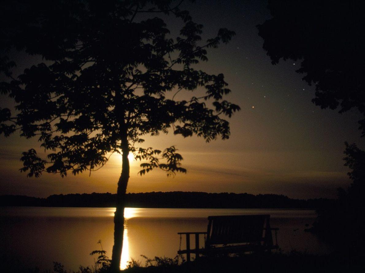 Moon Over Minnesota Lake