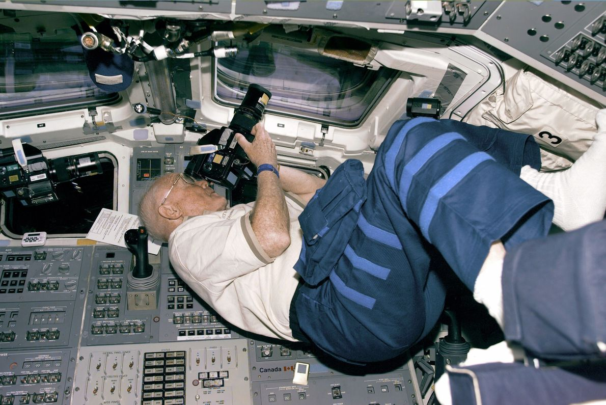 John Glenn became the oldest person to fly in space on the shuttle Discovery in 1998. ...