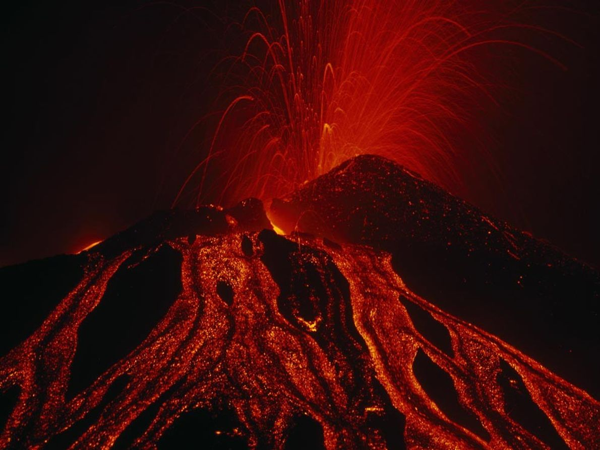 Italy's Mount Etna provides a vivid image of one of the birthplaces of igneous rock during ...