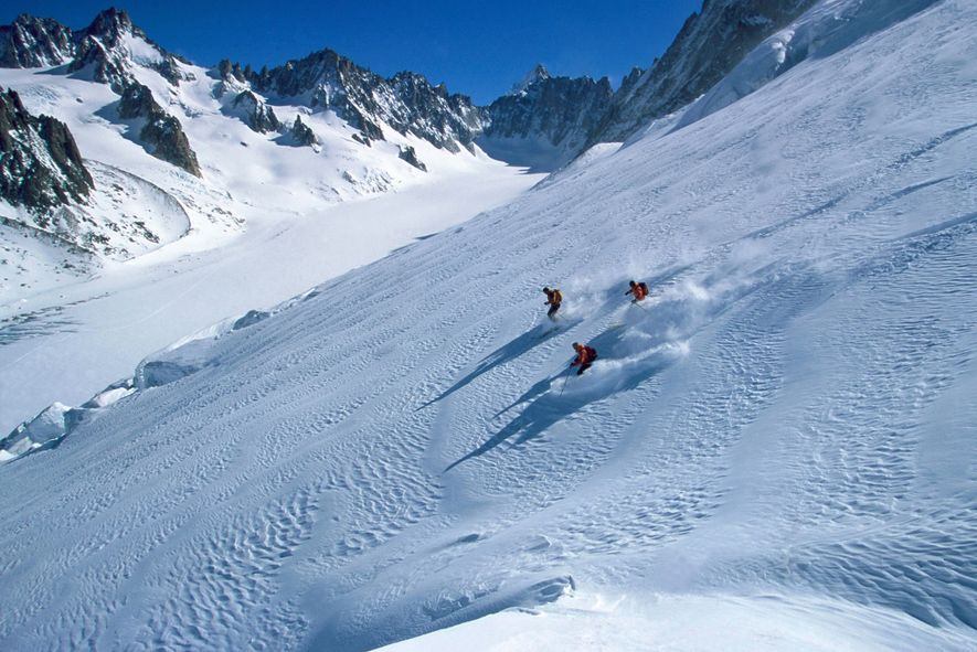 Offpiste in the north face of Les Grands Montets, Chamonix Valley