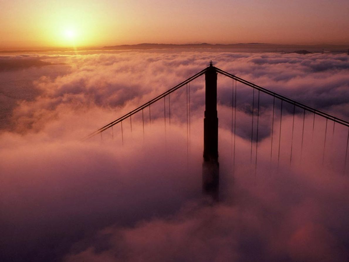 San Francisco's Golden Gate Bridge appears to float on a sea of surrounding clouds. Such low-level ...