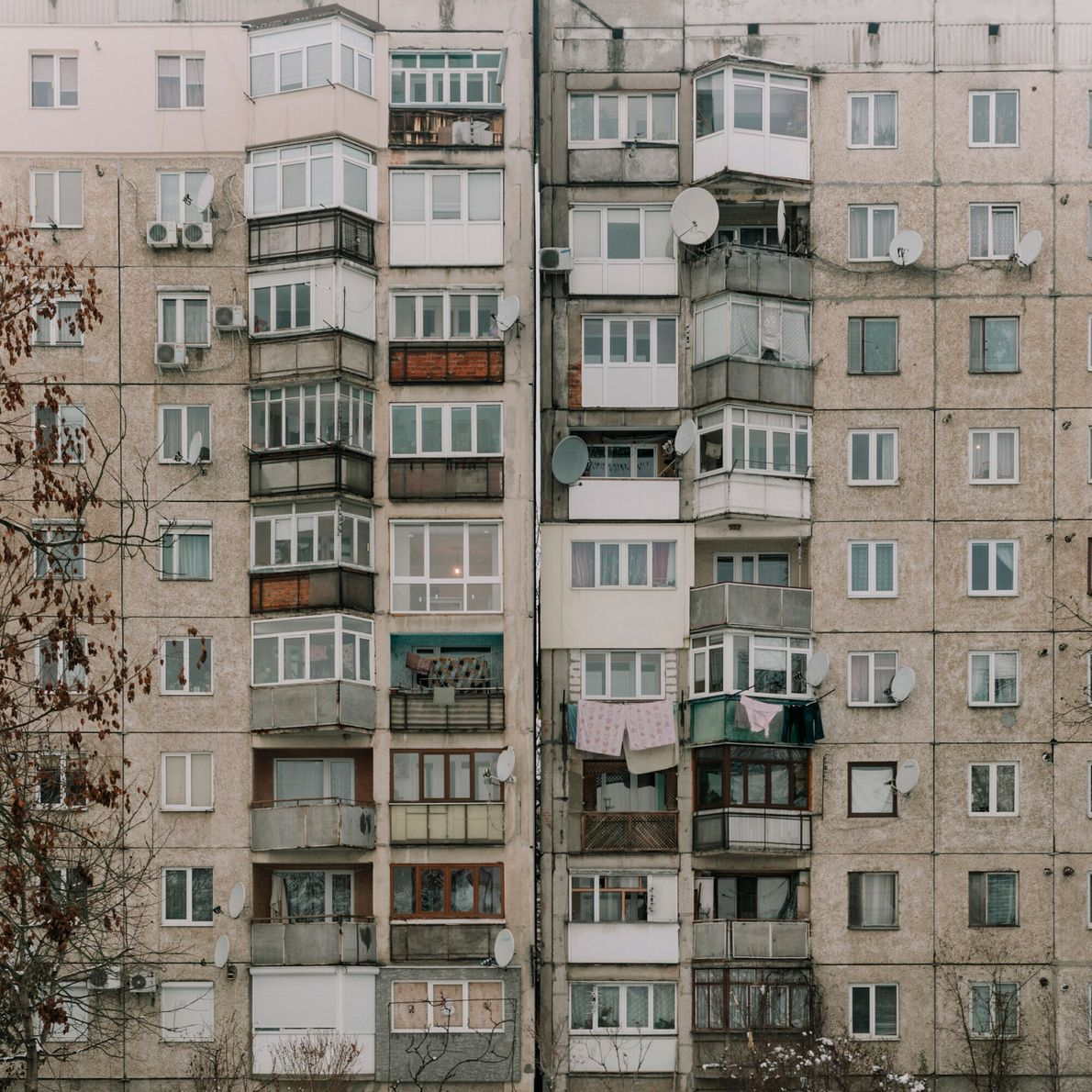 Ukraine, 2018. A block of flats on the site of Mukachevo's ghetto. On August 27 and 28 ...