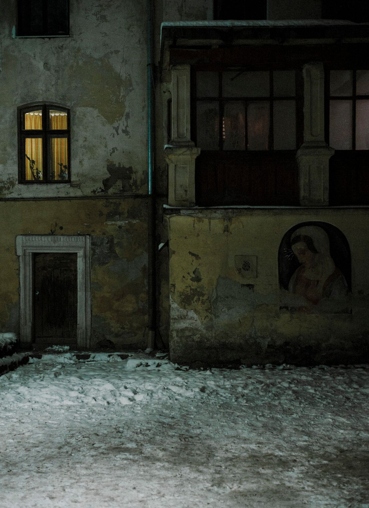 Ukraine, 2018: A street on the edge of the ghetto walls in Lviv containing the hiding ...