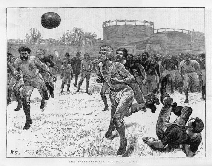 An artist's impression from 1872 captures the rough and ready nature of the first international football ...