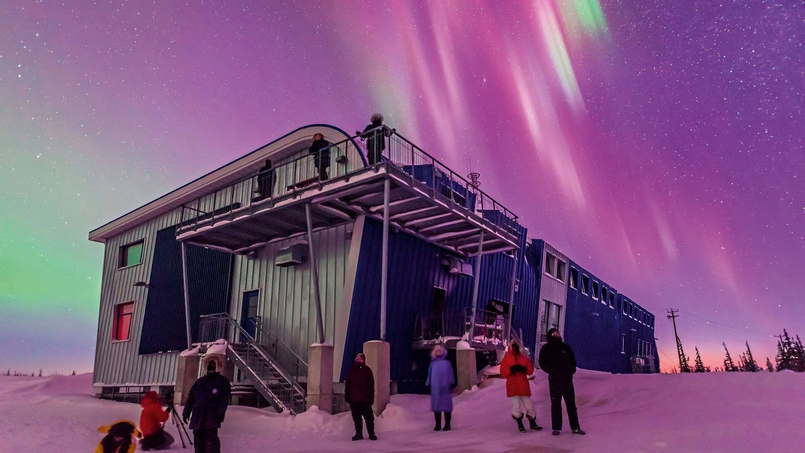 A spectacular Northern Lights display at the Churchill Northern Studies Centre