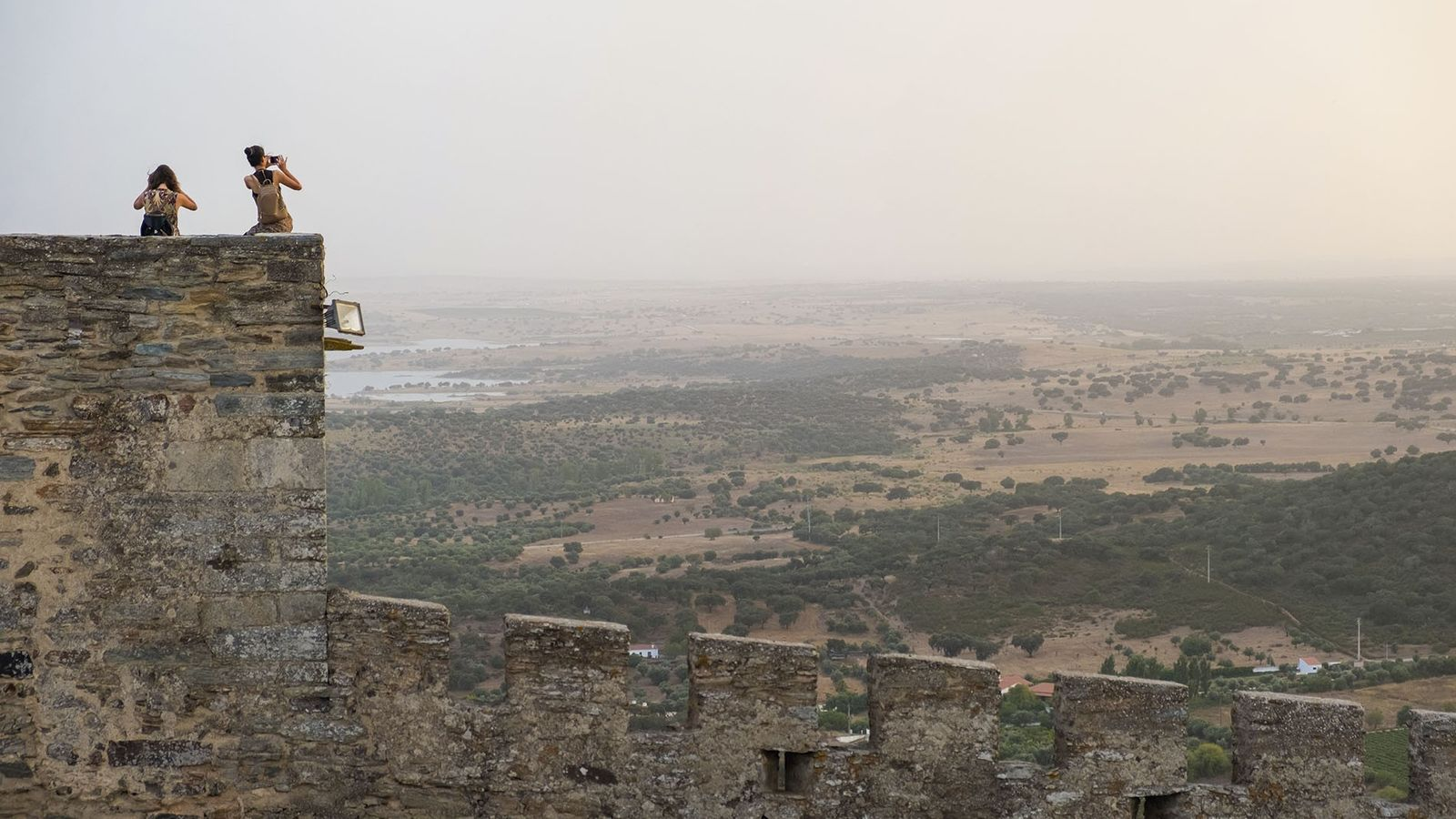 Monsaraz Castle with the Great Lake in the background