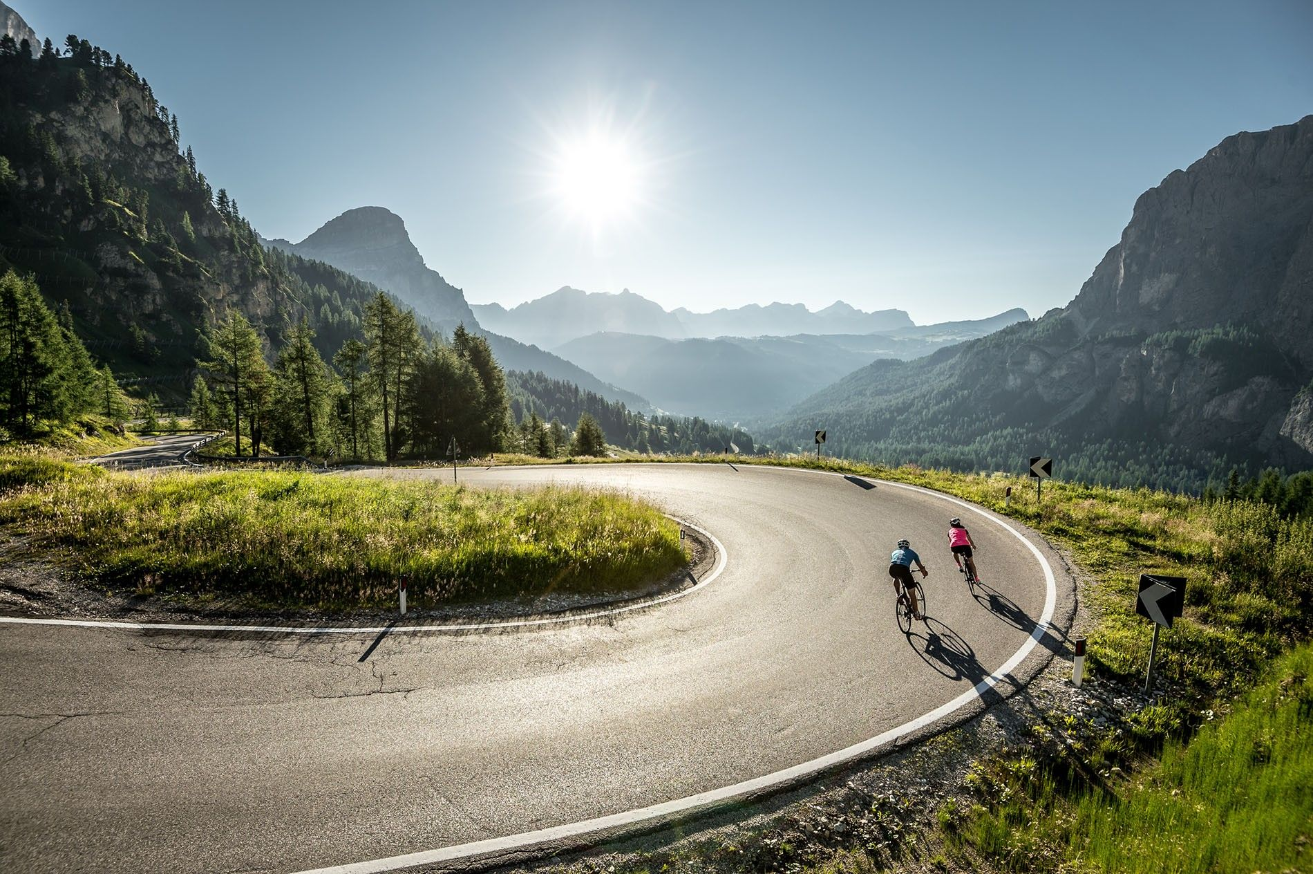 Road cycling on the mountain passes of Alta Badia