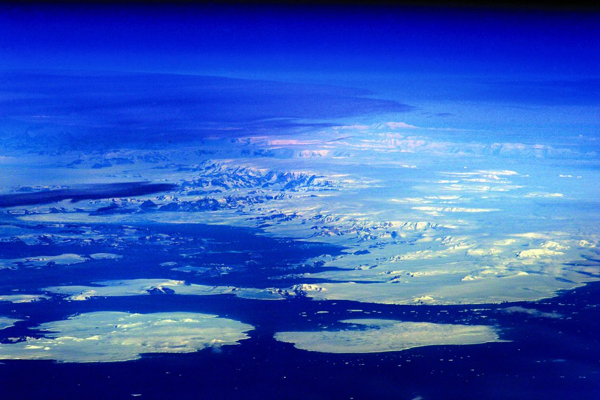 A rare glimpse of Antarctica's islands and peninsula, usually covered by thick clouds.