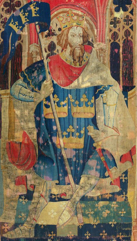 King Arthur, as depicted in a tapestry dated c.1384.