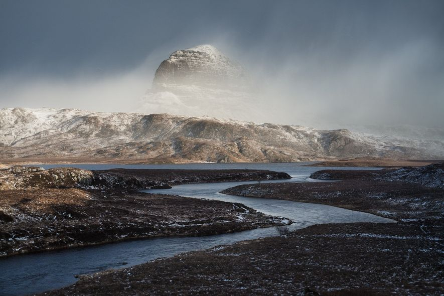 """""""The river Kirkaig flows out of Fionn Loch, beneath Suilven. The only way to reach this ..."""