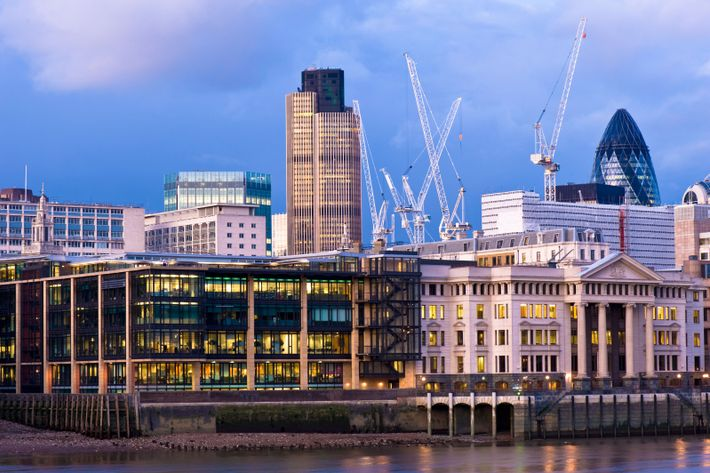 """Cranes over the City of London. """"That's how you can see how well a city's doing, ..."""