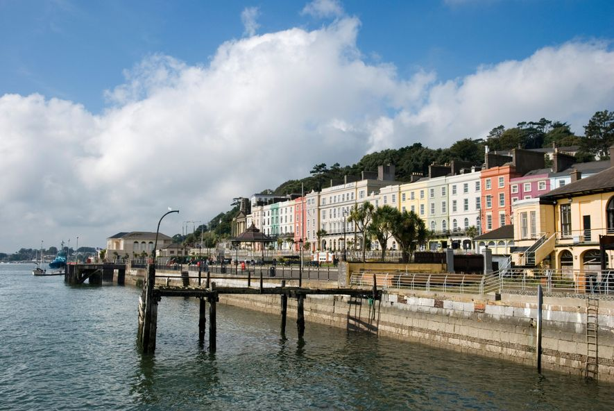 Cobh waterfront, County Cork – and the ruins of the pier used by Titanic passengers during ...