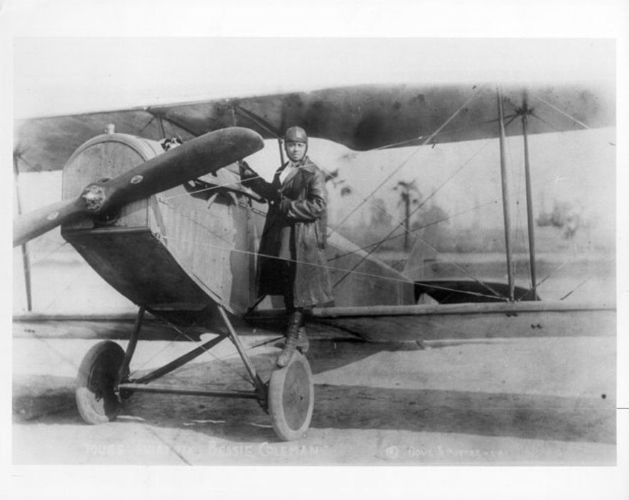 Bessie Coleman was a renowned stunt pilot who pulled off figure eights and loop the loops with fearless determination.