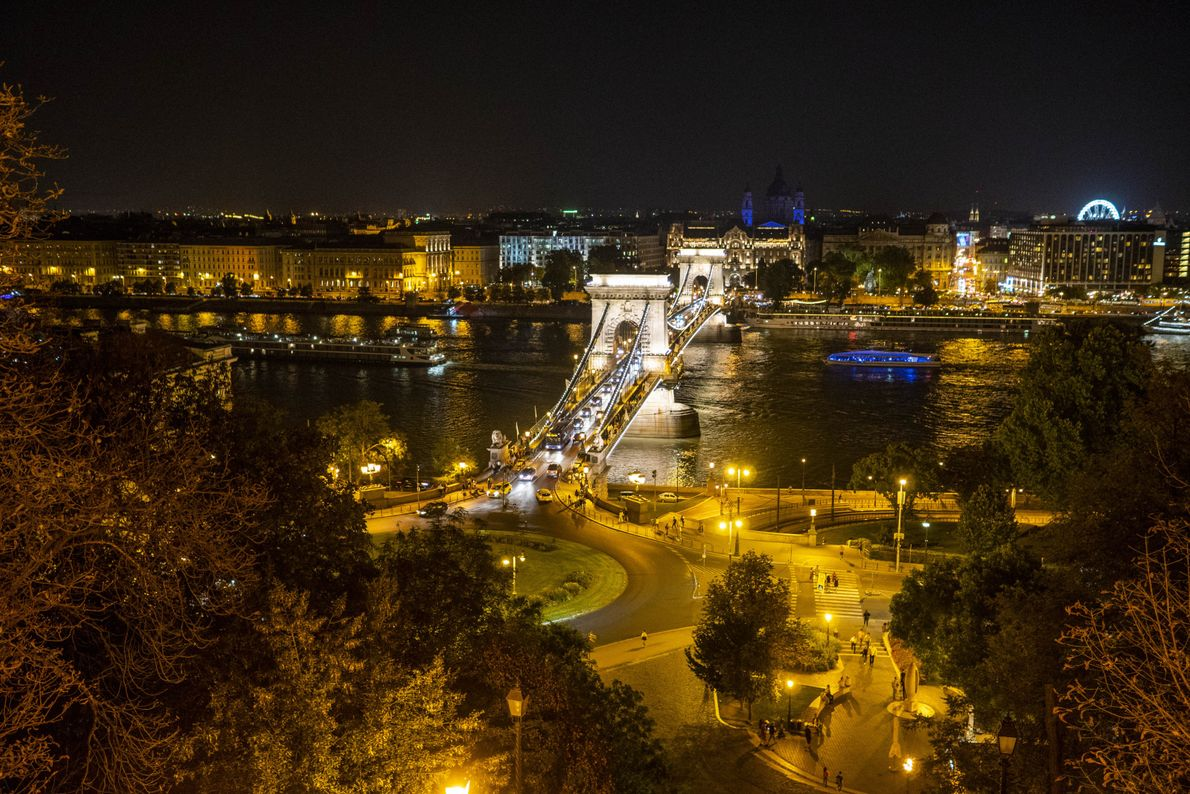 The Széchenyi Chain Bridge is one of the seven bridges spanning the Danube in central Budapest. ...
