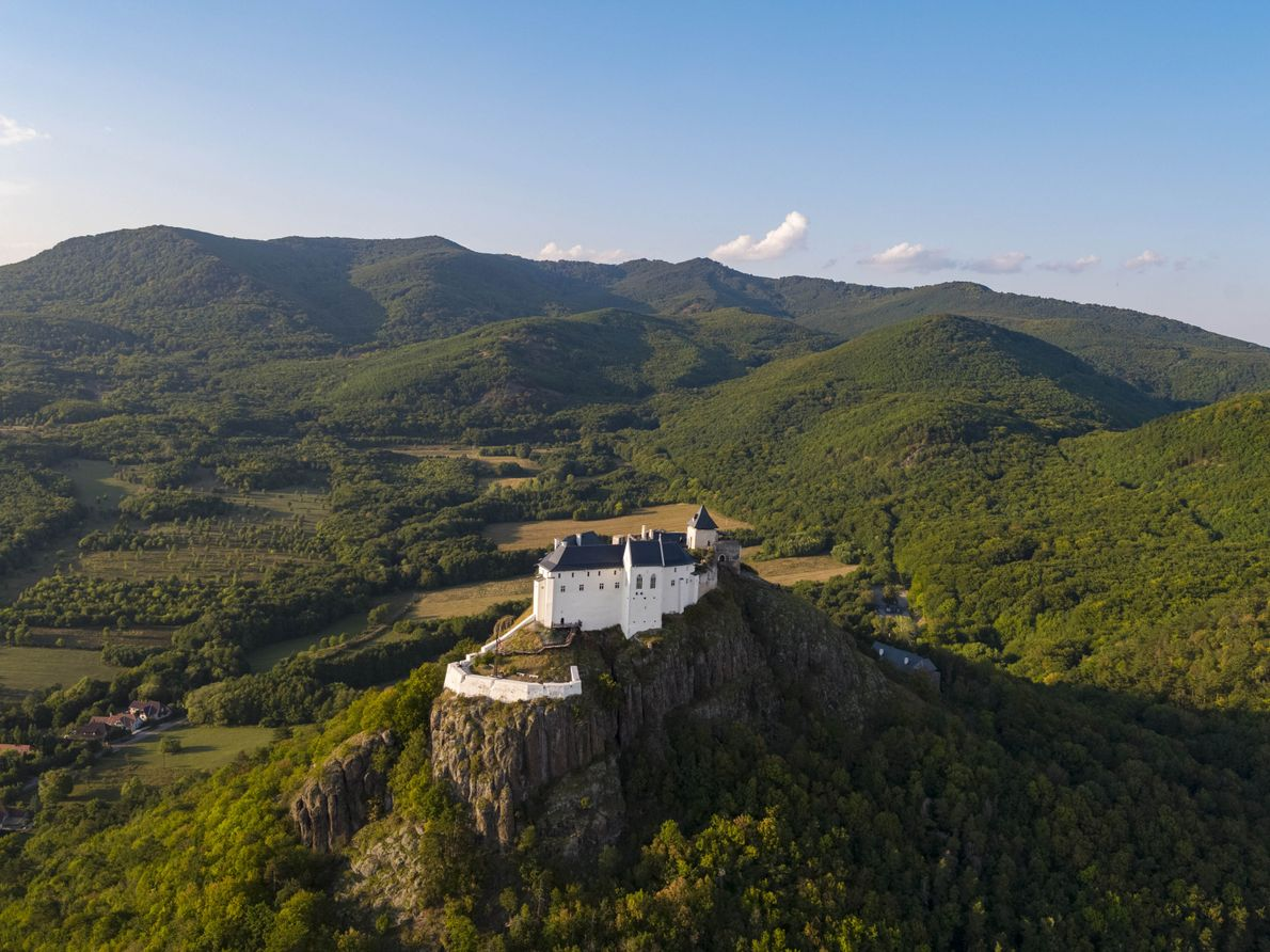 Füzér Castle sits in a stunning spot in northeastern Hungary, surrounded by the rolling Zemplén Mountains.