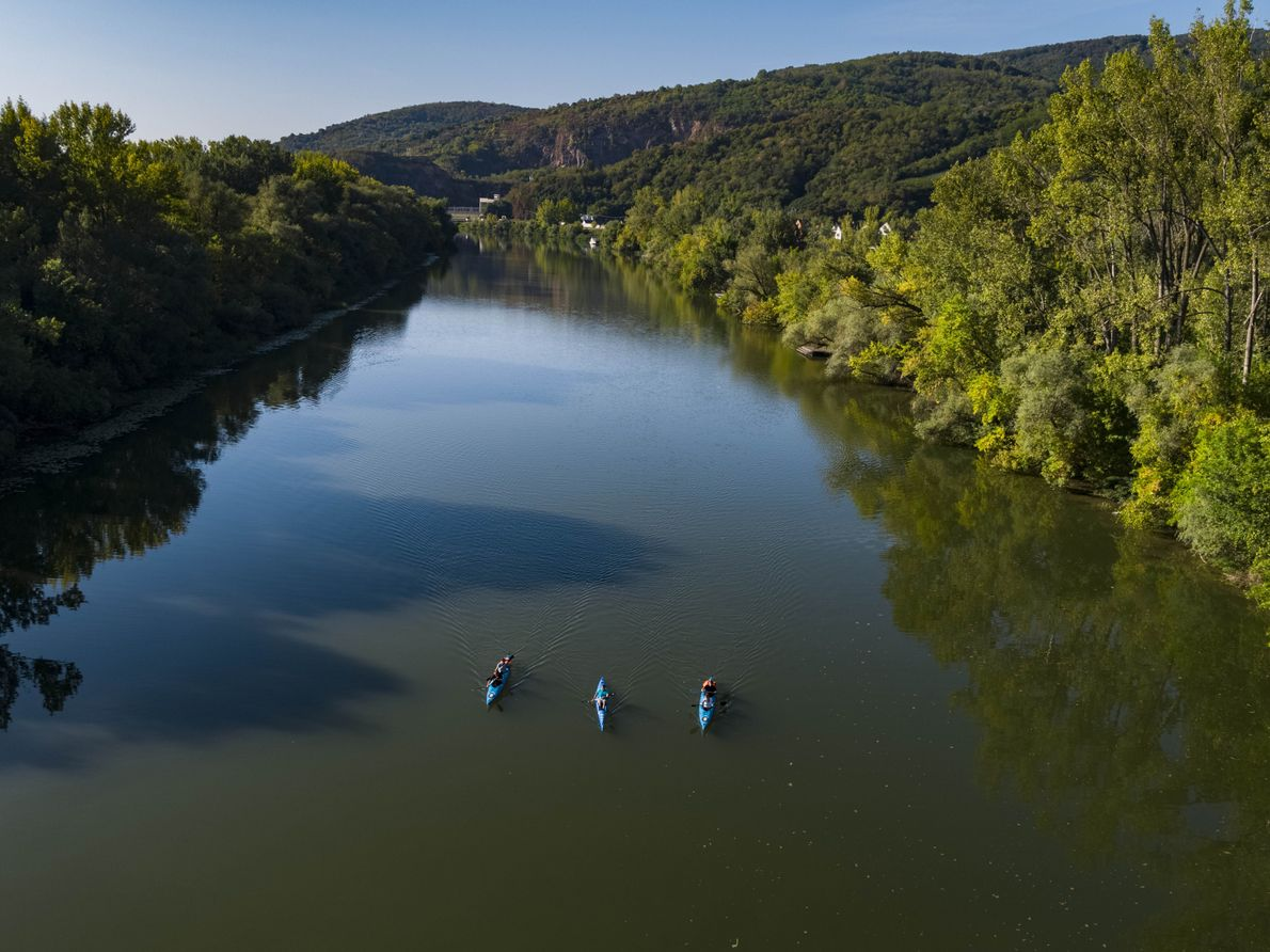 Kayakers paddle on the Bodrog River in Tokaj. The region is framed by natural borders: the ...