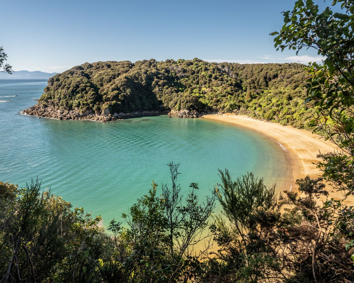 Abel Tasman National Park is New Zealand's smallest (87 square miles), but its breathtaking views explode ...