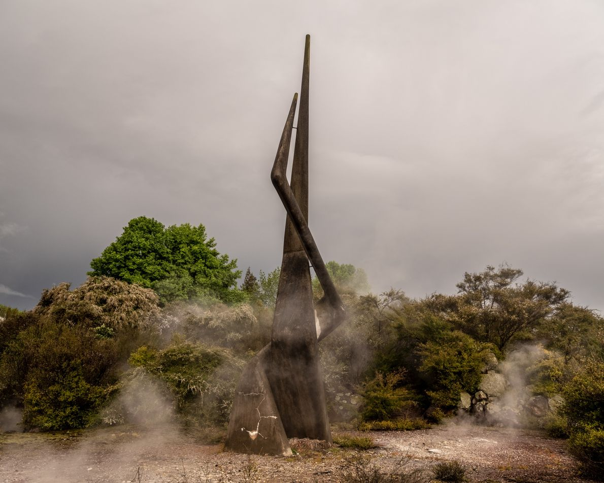 Two groups make one country. This 1970 concrete sculpture by Ben Benfield is built on the ...