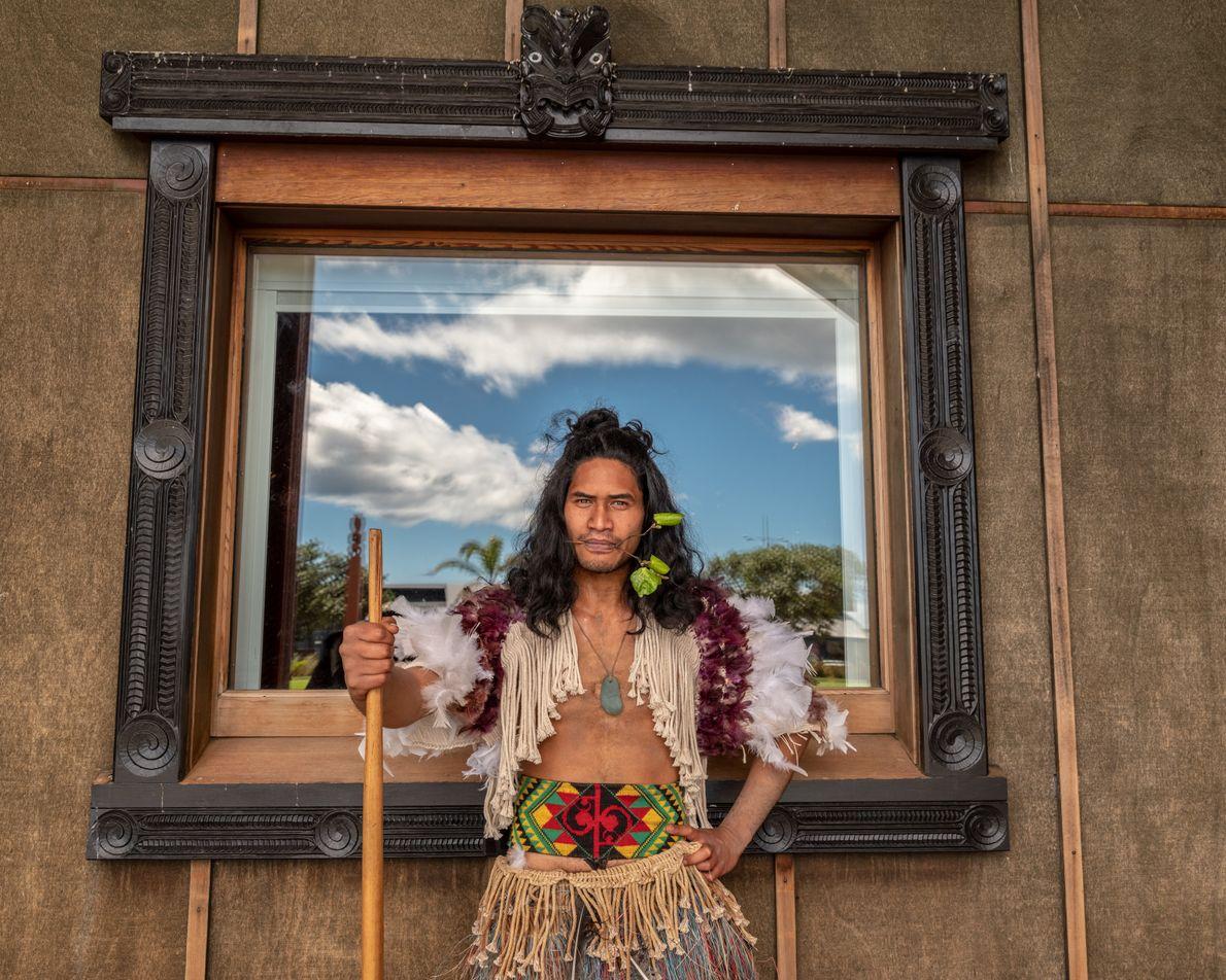 Tame Hotene of the Mataatua Marae stands tall prior to the start of a pōwhiri, a ...