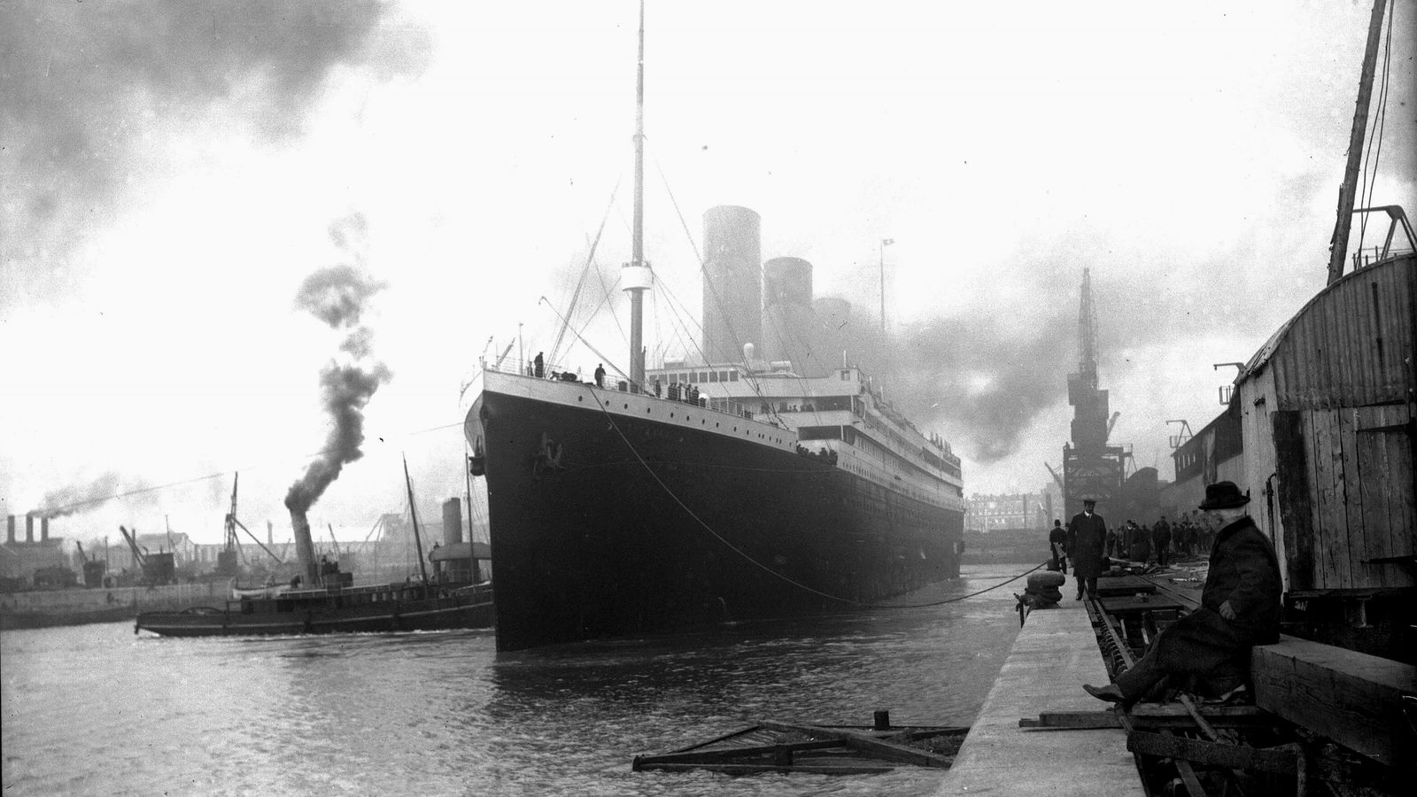 The Titanic at anchorage in Southampton.