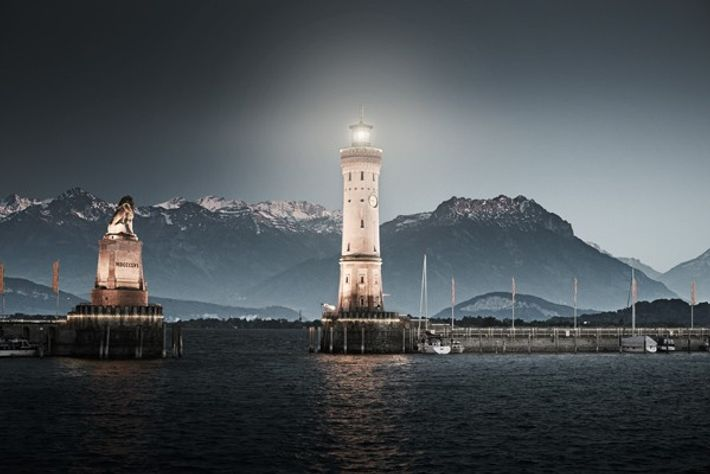 The entrance to Lindau harbour. Image: Hari Pulko / Lindau Tourism