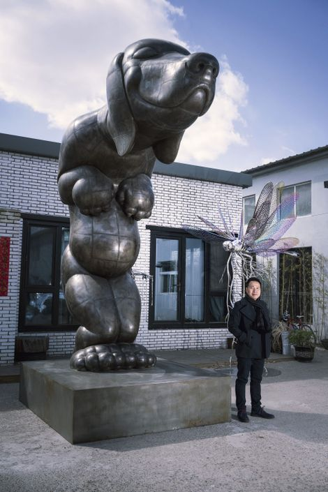 Gao Xiaowu outside his studio