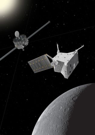An artist's impression of the BepiColombo spacecraft at Mercury.